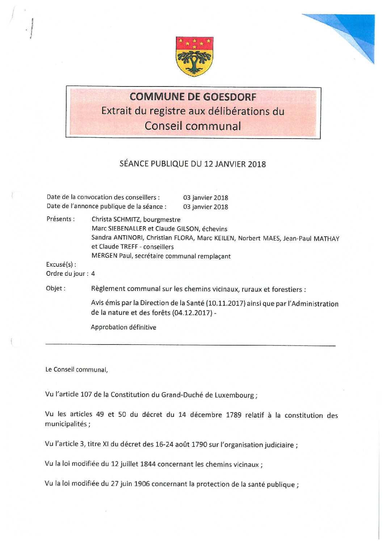 Règlement communal sur les chemins vicinaux, ruraux et forestiers_12.01.2018