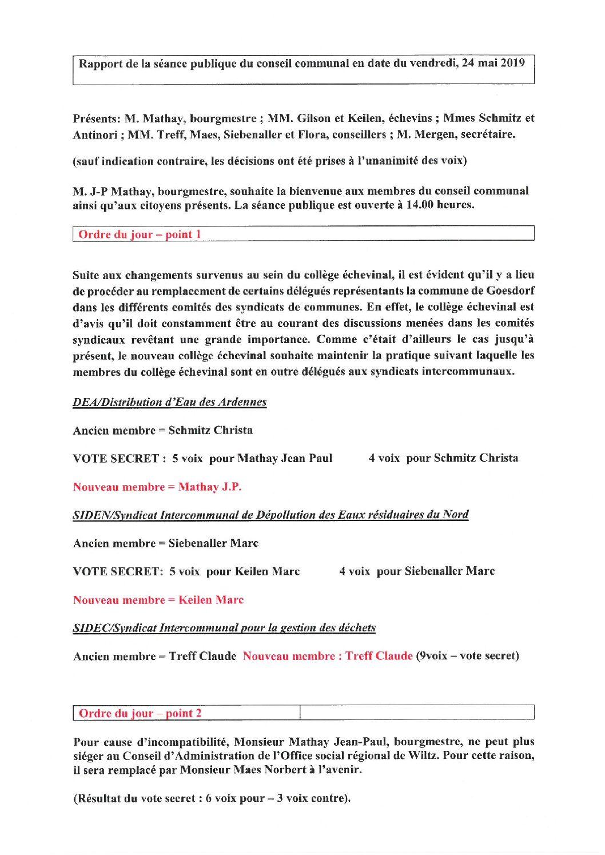 Rapport Conseil communal 24-05-2019