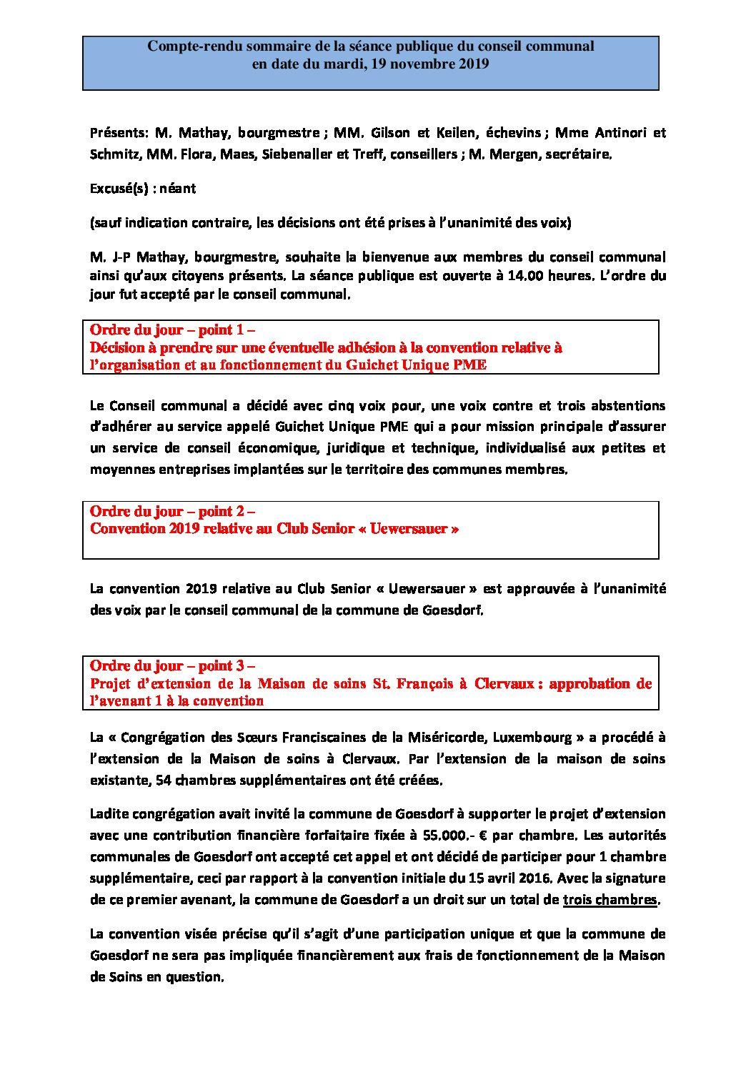 Rapport Conseil communal 19-11-2019