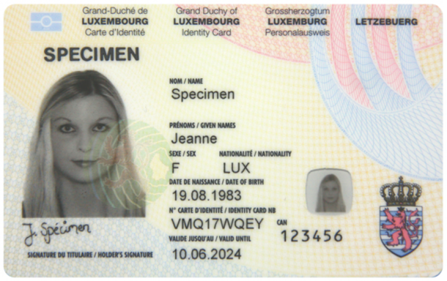 Carte d'identité luxembourgeoise