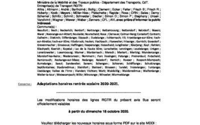 Avis RGTR – Rentrée 2020-2021
