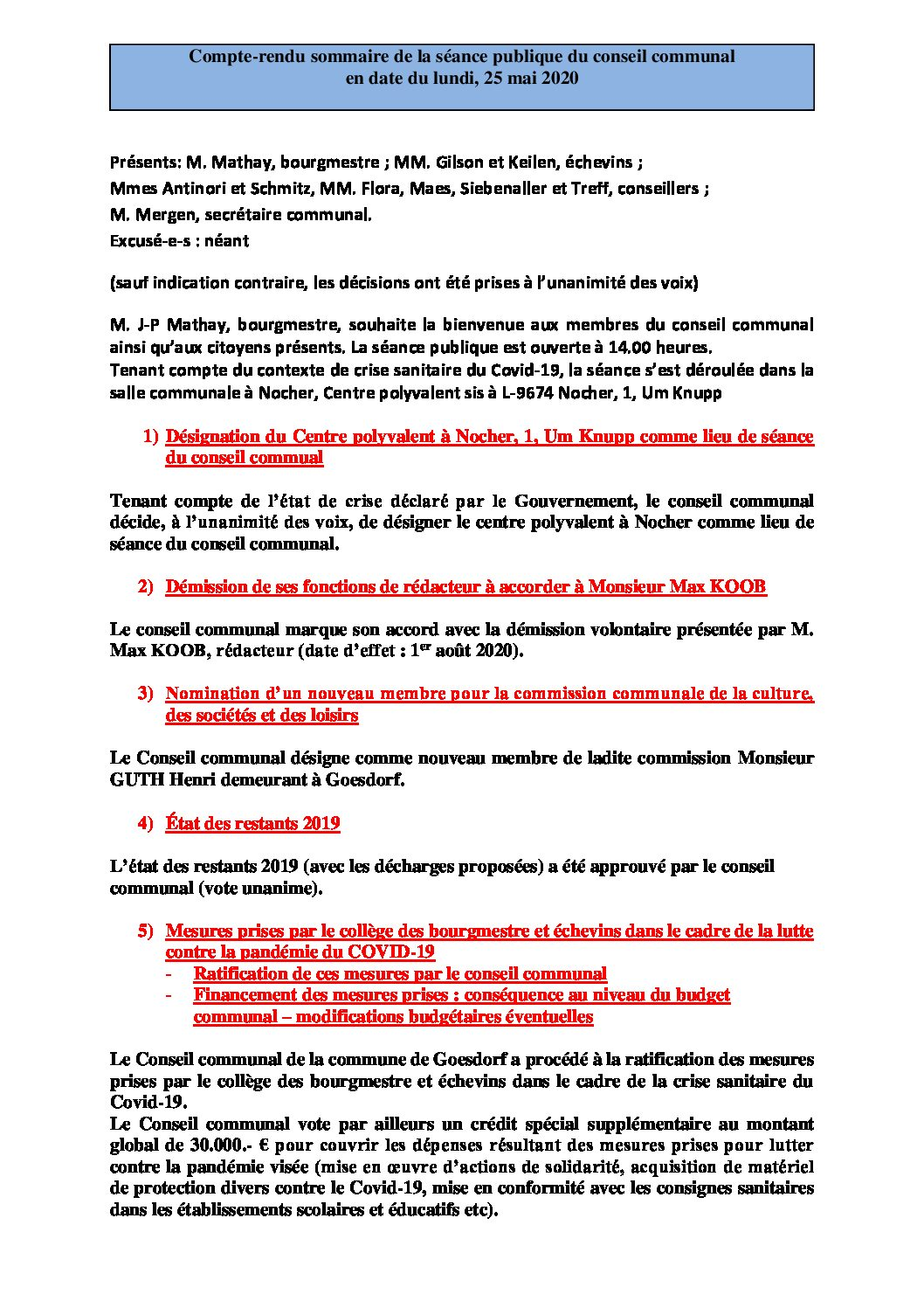 Rapport Conseil communal 25-05-2020