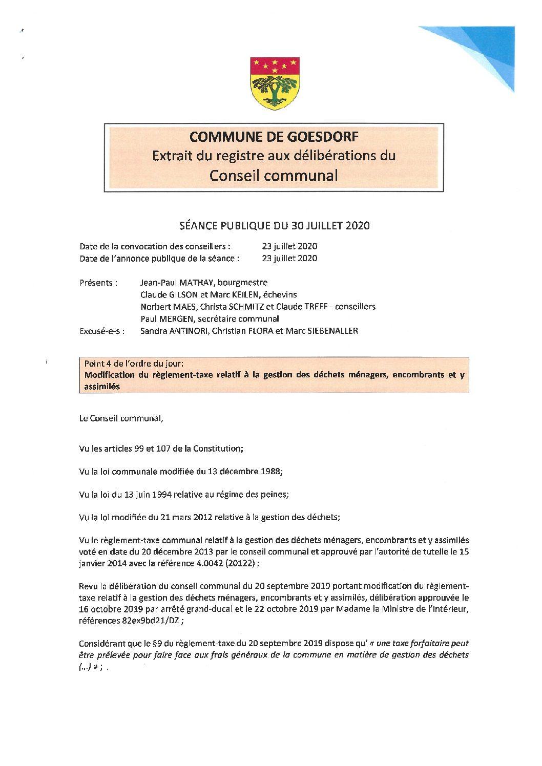 Règlement-taxe relatif à la gestion des déchets ménager, encombrants et y assimilés_30.07.2020