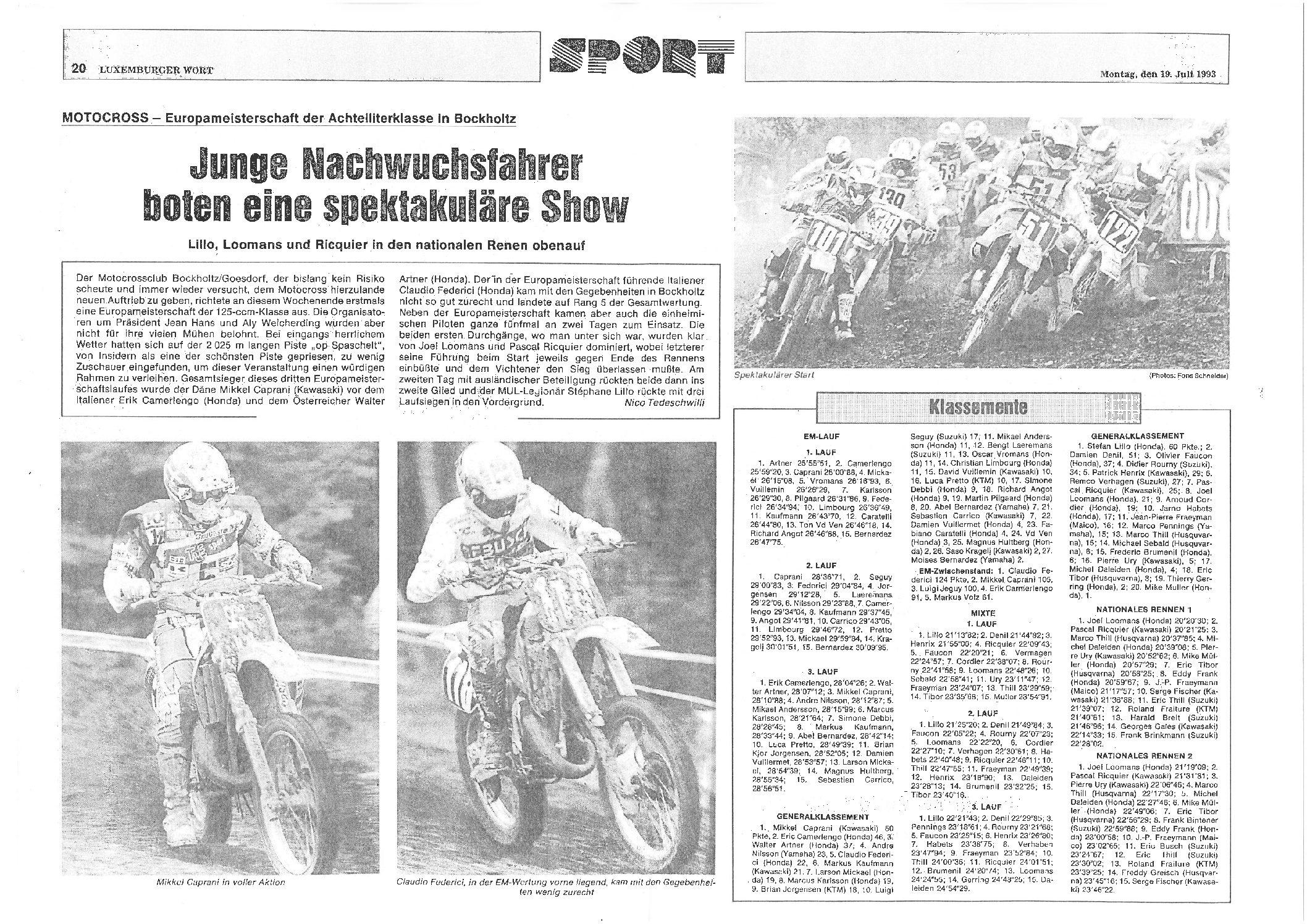 Article LW 19.07.1993 - Nico Tedeschwilli