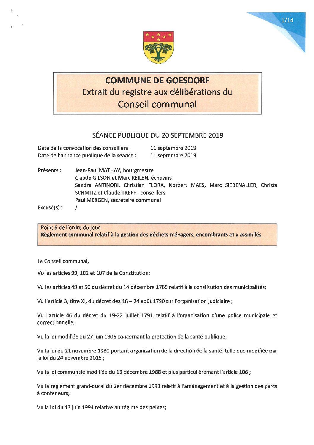 Règlement communal relatif à la gestion des déchets ménagers, encombrants et y assimiliés_20.09.2019