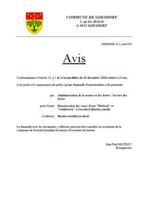 Avis au public_demande d'autorisation, art. 24 § 1 de la loi modifiée du 19 décembre 2018 relative à l'eau_ANF 19.08.2020