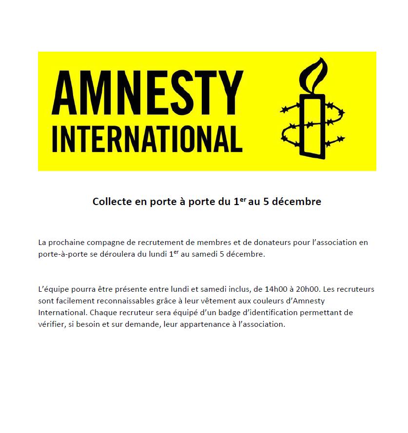 Amnesty International - collecte en porte à porte