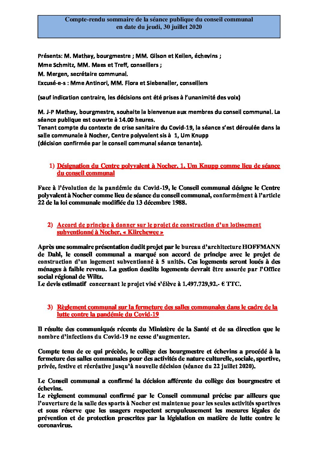 Rapport séance publique conseil communal jeudi 30 07 2020