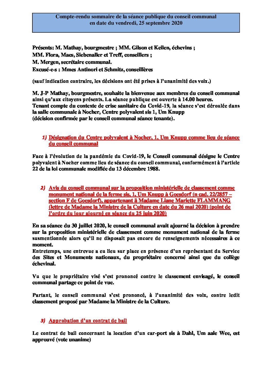 Rapport séance publique conseil communal vendredi 25 09 2020