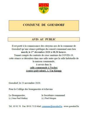CONVOCATION Conseil communal Séance 01 12 2020_COVID-19_Salle Nocher AVIS AU PUBLIC - Publication Raider
