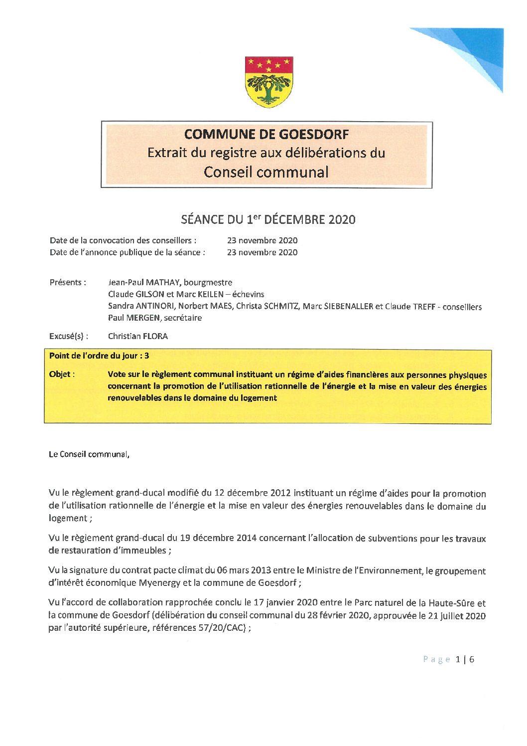 Règlement instituant des aides financières concernant la promotion de l'utilisation rationnelle de l'énergie et la mise en valeur des énergies renouvelables dans le domaine du logement_01.12.2020
