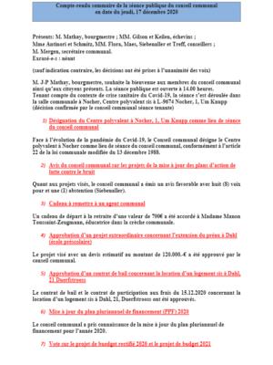 Rapport séance publique conseil communal jeudi 17 12 2020