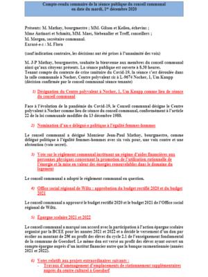 Rapport séance publique conseil communal mardi 01 12 2020