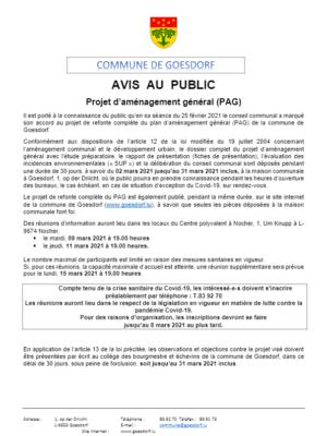 Avis au public_PAG_Saisine Conseil communal 25 02 2021