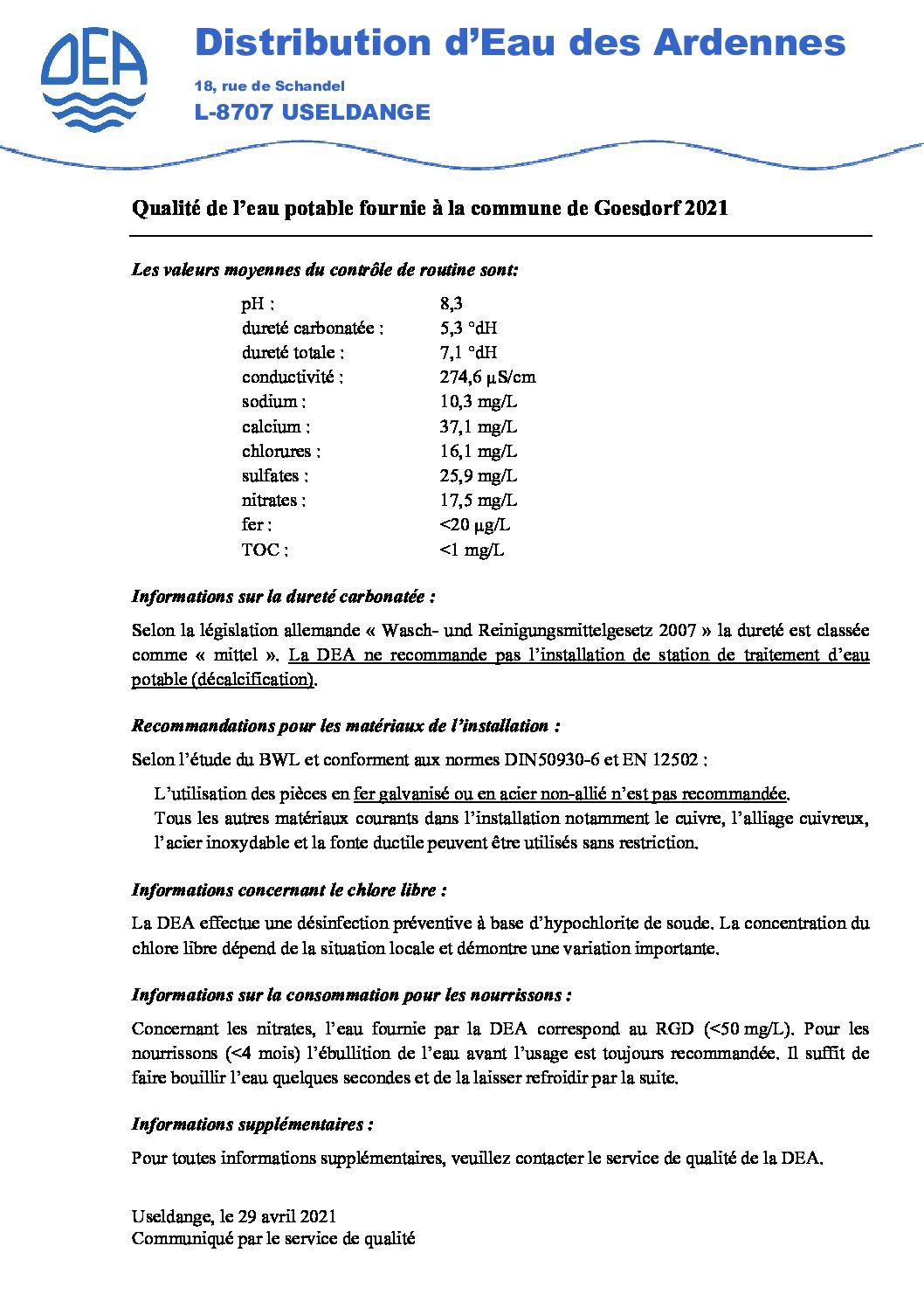 qualité d'eau fournie Goesdorf 2021
