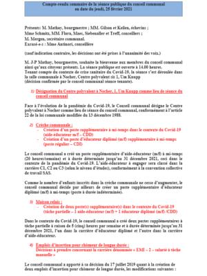 Rapport séance publique conseil communal Jeudi 25 02 2021