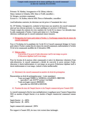 Rapport séance publique conseil communal Vendredi 02 04 2021