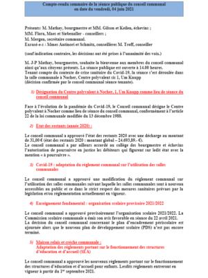 Rapport séance publique conseil communal Vendredi 04 06 2021