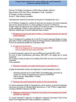 Rapport séance publique conseil communal Vendredi 25 06 2021